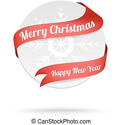 Christmas medal with red ribbon isolated on white background. Vector card.