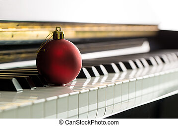 Christmas melody - Christmas music illustrated with red ...