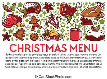 Christmas menu banner with dishes and text sample
