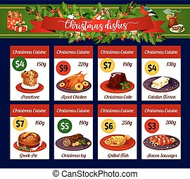 Christmas menu card of winter holiday dinner