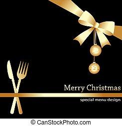 Christmas menu on a black background