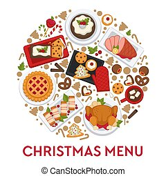 Christmas menu for celebration table, foods dishes