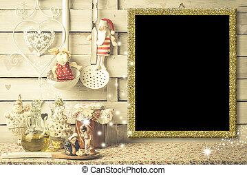 Christmas menu, photo frame or greetings card. - Background...