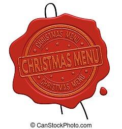 Christmas menu red wax seal