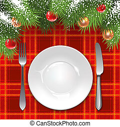 Christmas menu template with holiday decorations and tartan...