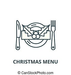 Christmas menu vector line icon, linear concept, outline sign, symbol