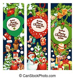 Christmas merry holidays vector greeting banners