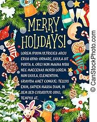 Christmas merry holidays vector greeting card