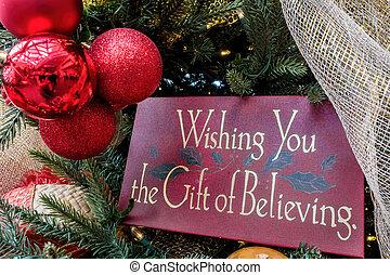 Christmas message on tree - closeup
