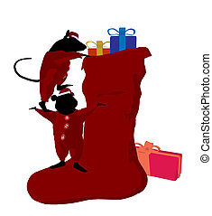 Christmas Mice Art Illustration - Little cute mouses with...