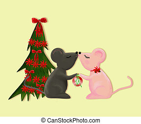 Christmas Mice - Two cartoon mice kissing beside a Christmas...