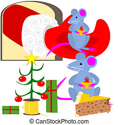 Christmas mice - Cartoon illustration of mice, celebrating...