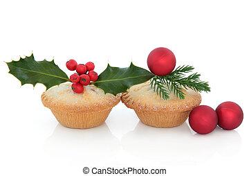 Christmas Mince Pies - Christmas mince pies with red baubles...