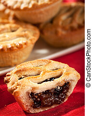 Mince pies - Christmas Mince pies stacked on a plate shallow...
