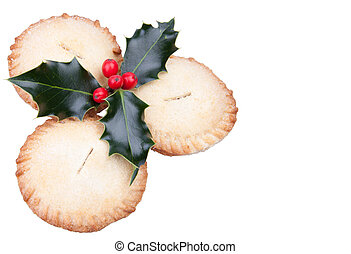 Christmas mince pies with holly
