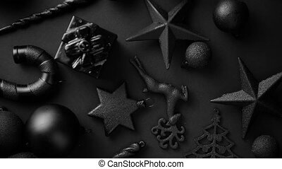 Christmas minimalistic and simple composition in mat black...
