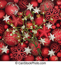 Christmas Mistletoe and Bauble Decorations
