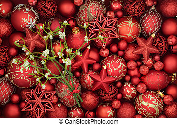 Christmas Mistletoe and Red Baubles