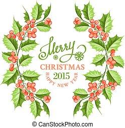 Christmas mistletoe branch frame.