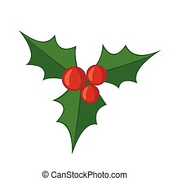 Christmas mistletoe icon in flat style isolated on white background. Vector illustration.
