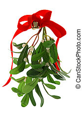 Christmas Mistletoe Isolated - Christmas mistletoe with a...