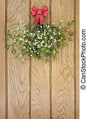 Christmas Mistletoe with Red Bow