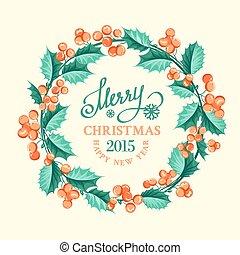 Christmas mistletoe wreath over beige background. Vector illustration.