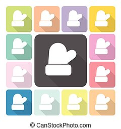 Christmas mitten Icon color set vector illustration.