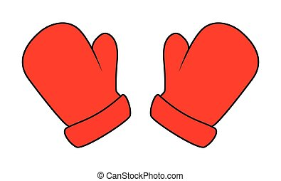 Christmas mittens, cartoon gloves design, icon, symbol....