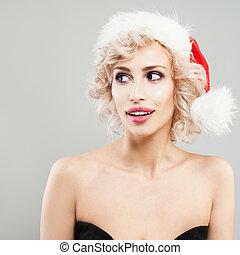 Christmas Model in Santa Hat