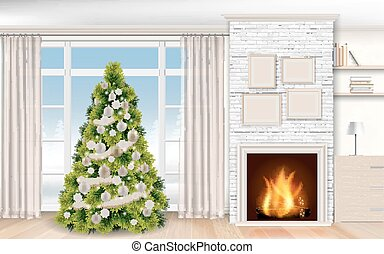christmas modern Interior with fireplace and fir tree