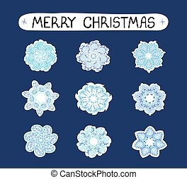 Christmas modern set with ilustrations of snowflakes