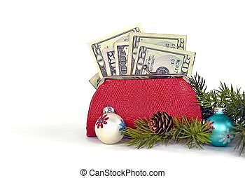 Christmas money in red purse