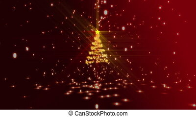 Christmas montage with red and gold tree and greeting...