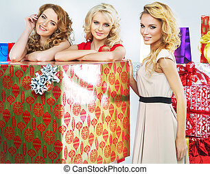 Christmas mood portrait of three women