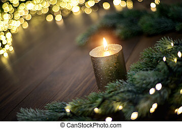Christmas mood with candle and lights