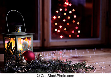 Christmas mood with latern and christmas tree