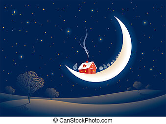 Christmas moonlit landscape with Santa%u2019s red house on the Moon. Vector illustration.