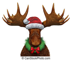 Christmas Moose - Christmas moose with santaclause hat and a...