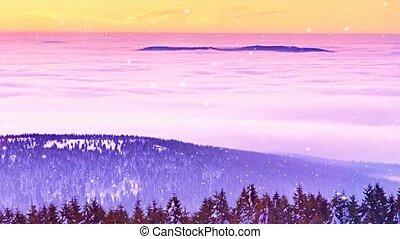 Christmas Morning Snowing while Pink orange sunrise above...