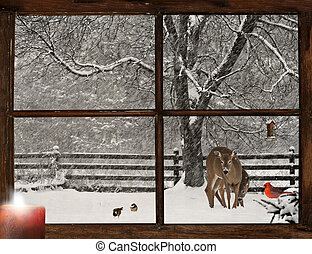 Christmas card design with a mother, and baby deer, a bright red Cardinal, and two cute chickadees in a snowstorm, as seen through a grunge farm house window.