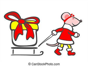 christmas mouse and gift