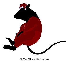 Christmas Mouse Illustration Silhouette