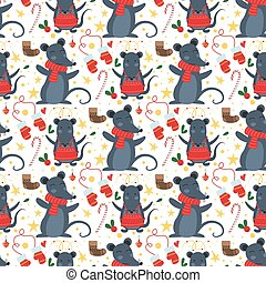 Christmas mouse seamless pattern winter vector.
