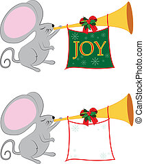 Christmas Mouse with Sign