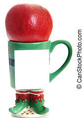 Coffee mug with pomegranate white note pad for Christmas, Holidays or promotional message.