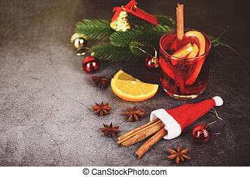 Christmas mulled wine delicious holiday like parties with orange cinnamon star anise spices for traditional christmas drinks winter holidays