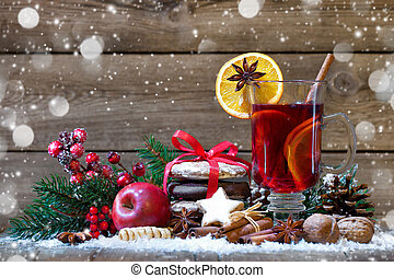 Christmas mulled wine with oranges and spices