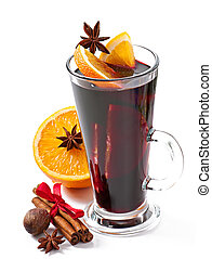 Christmas mulled wine in glass cup isolated on white...