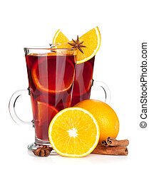 Christmas mulled wine with orange and spices